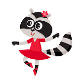 Cute raccoon character, ballet dancer in pointed shoes, tutu skirt