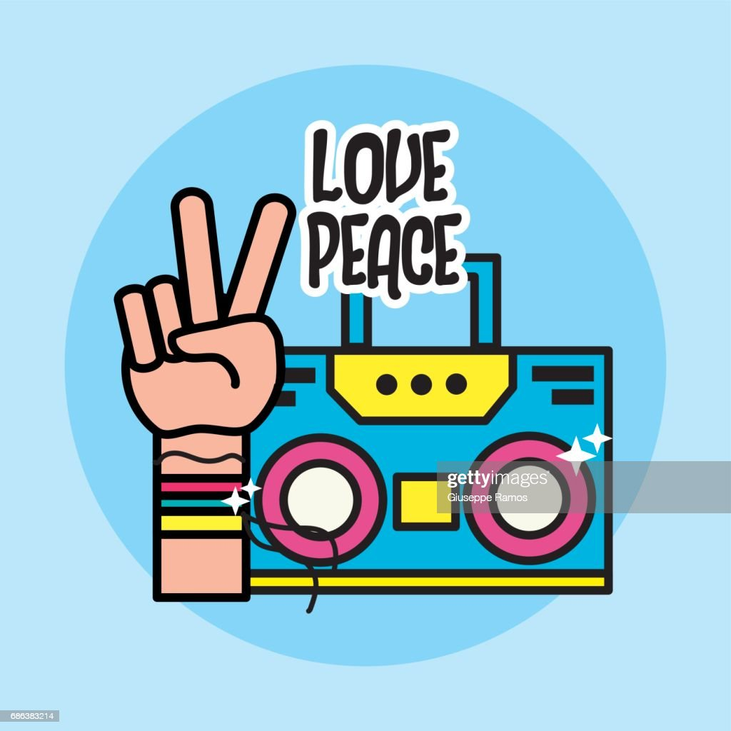 Cute radio and hand symbol of peace and love vector art getty images cute radio and hand symbol of peace and love vector art buycottarizona