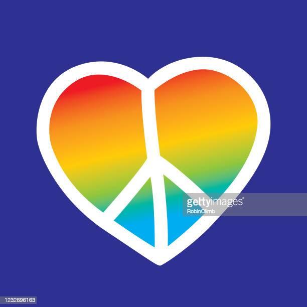 illustrazioni stock, clip art, cartoni animati e icone di tendenza di simpatico rainbow peace sign heart - pace