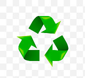 Cute Recycling Symbol Icon on Transparent Background . Isolated Vector Illustration