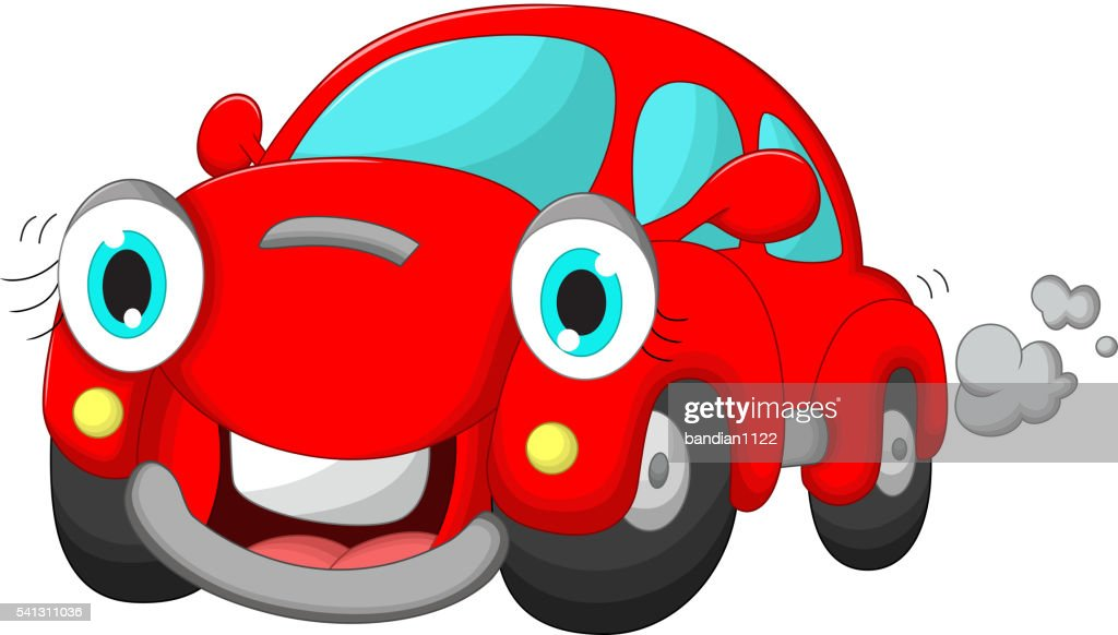cute red car cartoon