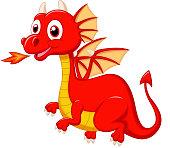 Cute red dragon cartoon