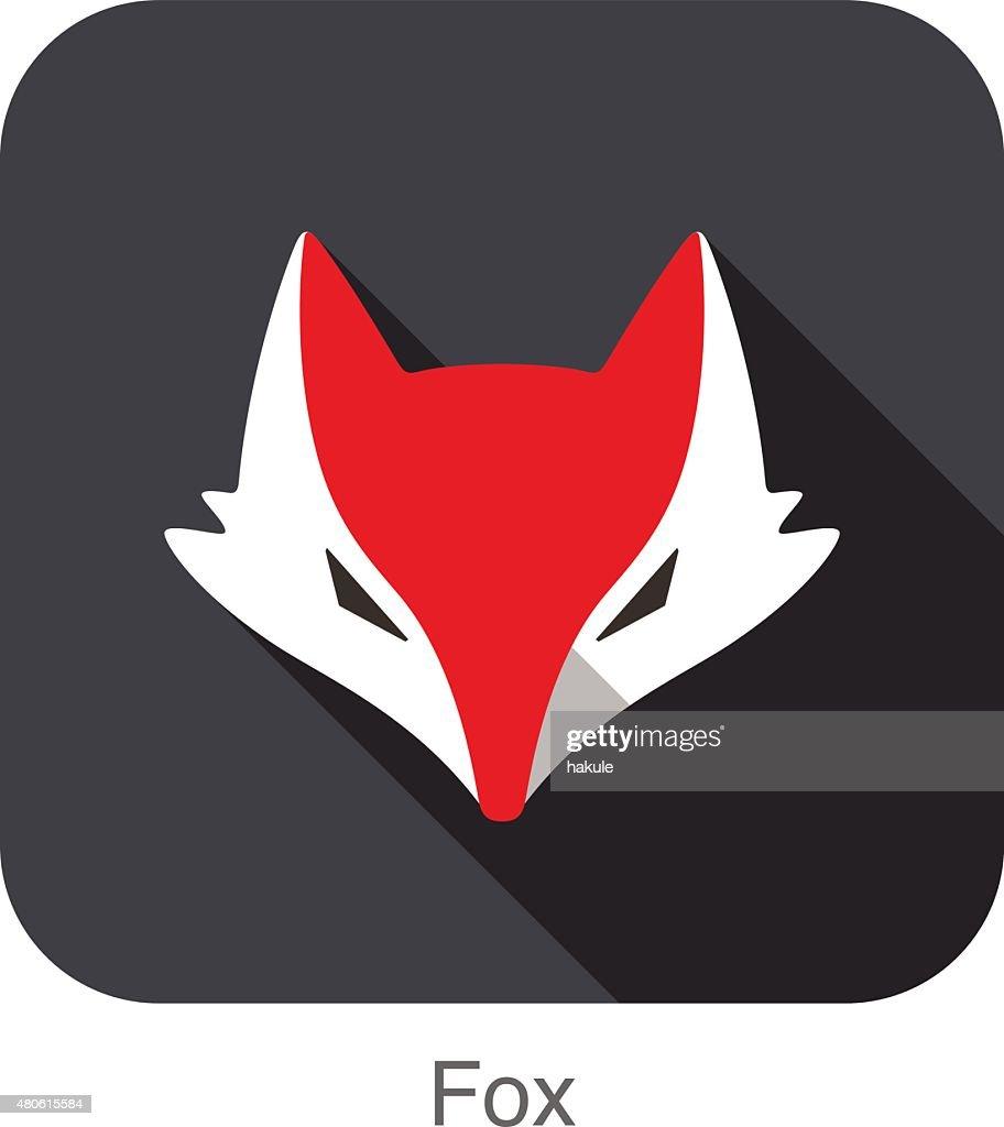 Cute Red Fox,  cartoon flat icon design