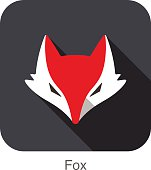 Cute Red Fox,  cartoon flat icon design