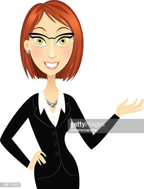 Cute red head business woman gesturing