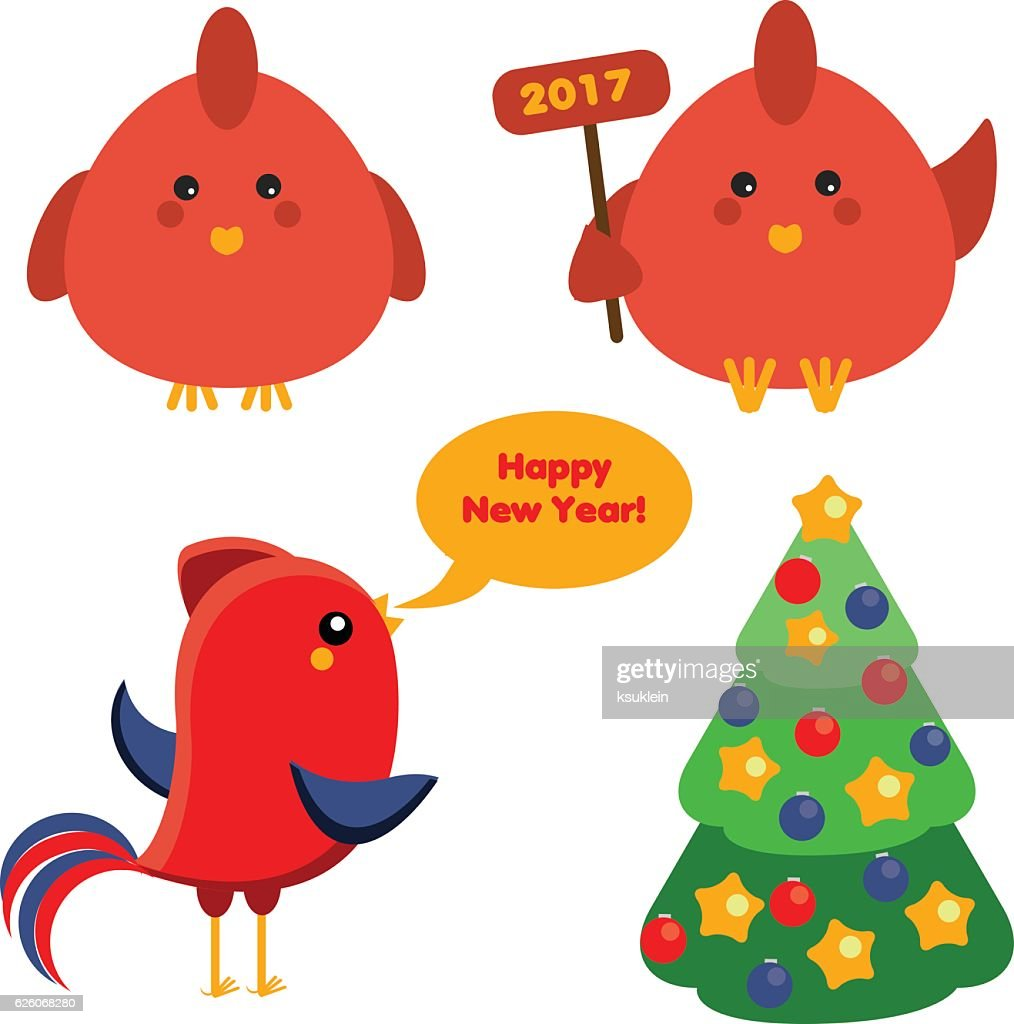 Cute Red Roosters Christmas Spruce Tree New Year Symbols Vector Art