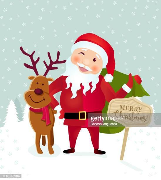 ilustraciones, imágenes clip art, dibujos animados e iconos de stock de lindo reno y santa claus tarjeta de felicitación de navidad - obesidad infantil
