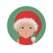 Cute resentful baby Santa Claus emoticon. Christmas upset child emoji. Santa hat offended kid avatar