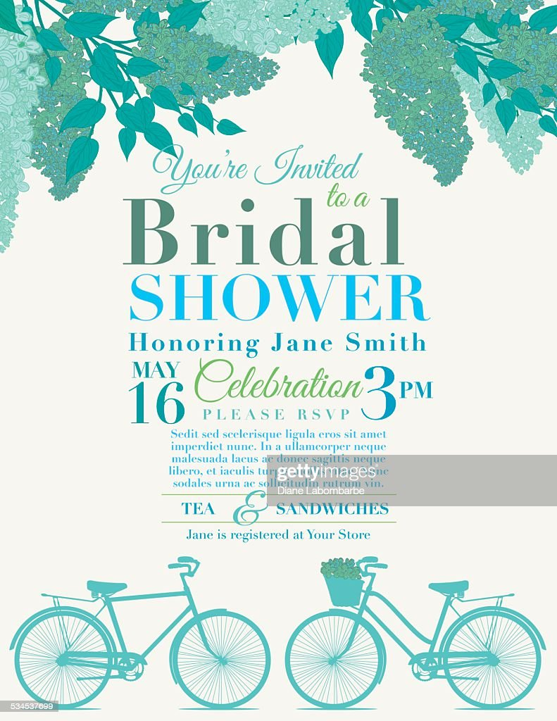 Cute retro bicycle bridal shower invitation vector art getty images cute retro bicycle bridal shower invitation vector art filmwisefo Choice Image