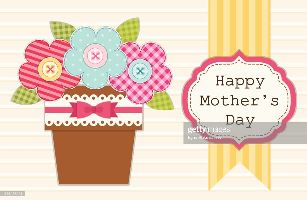 Cute retro card for Mother's Day with flowers in a pot