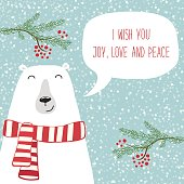 Cute retro Christmas card with funny cartoon character of polar bear with speech bubble