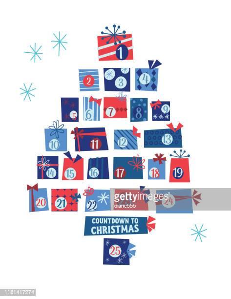 illustrazioni stock, clip art, cartoni animati e icone di tendenza di cute retro christmas gifts advent calendar tree - avvento