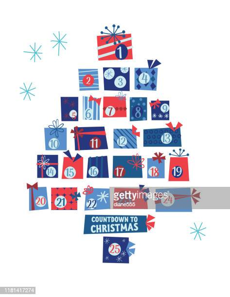 illustrations, cliparts, dessins animés et icônes de arbre mignon de calendrier de cadeaux rétro de noel - avent
