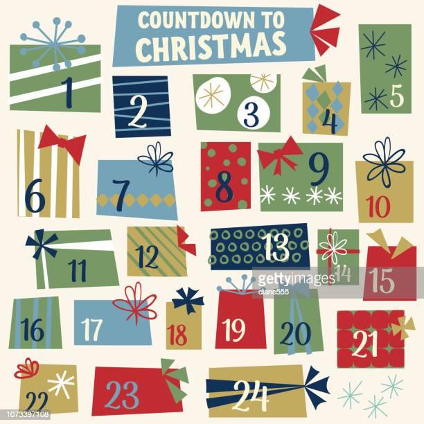 illustrazioni stock, clip art, cartoni animati e icone di tendenza di cute retro christmas gifts advent calendar - avvento
