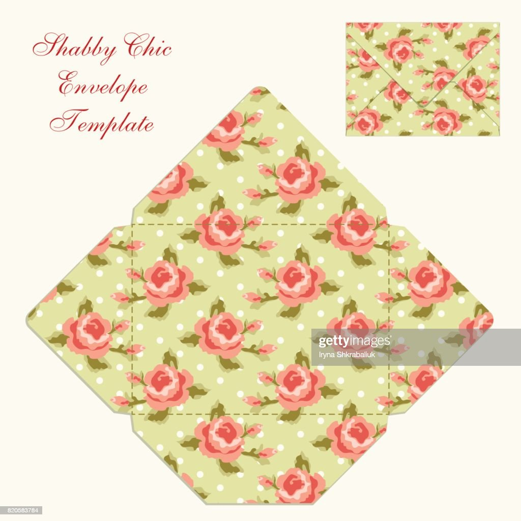 Cute Retro Envelope Template With Ornament In Shabby Chic Style Vector Art