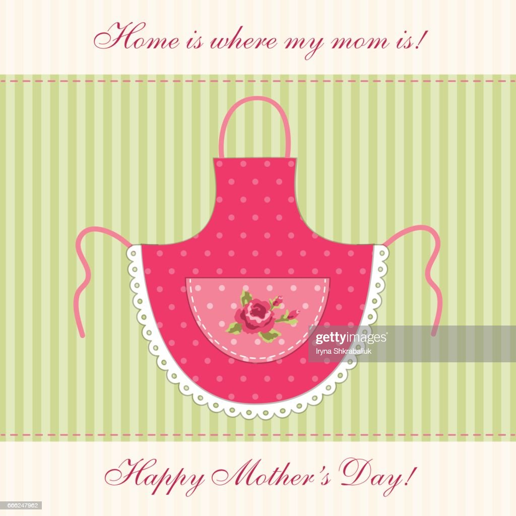 Cute retro Mother's Day card with imitation of mom's apron