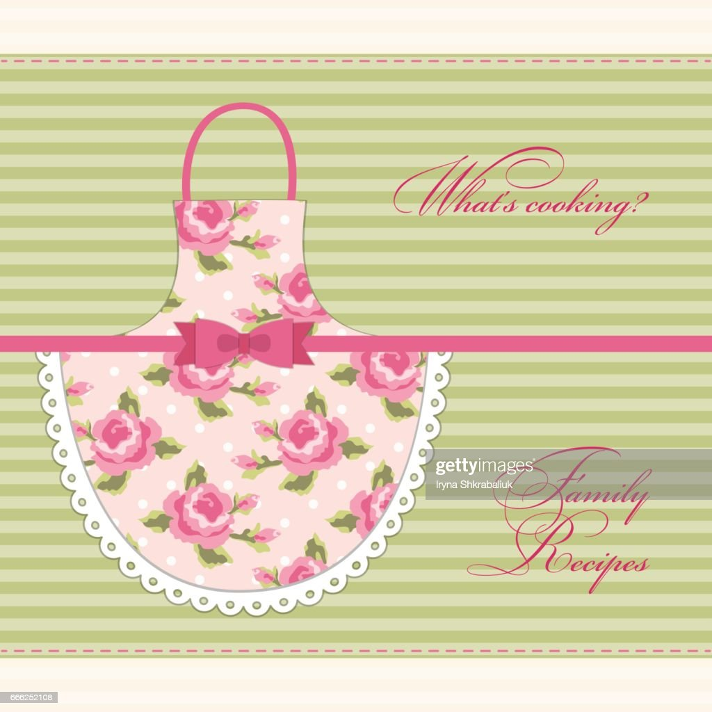 Cute retro recipe card with imitation of mom's apron