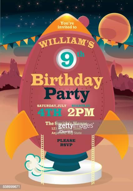 illustrations, cliparts, dessins animés et icônes de mignon rétro fusée anniversaire fête invitation modèle de conception - anniversaire enfant