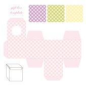 Cute retro square gift box template with gingham ornament to print, cut and fold
