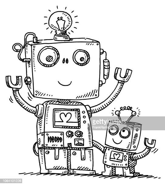 cute robot dad and son love drawing - robot stock illustrations