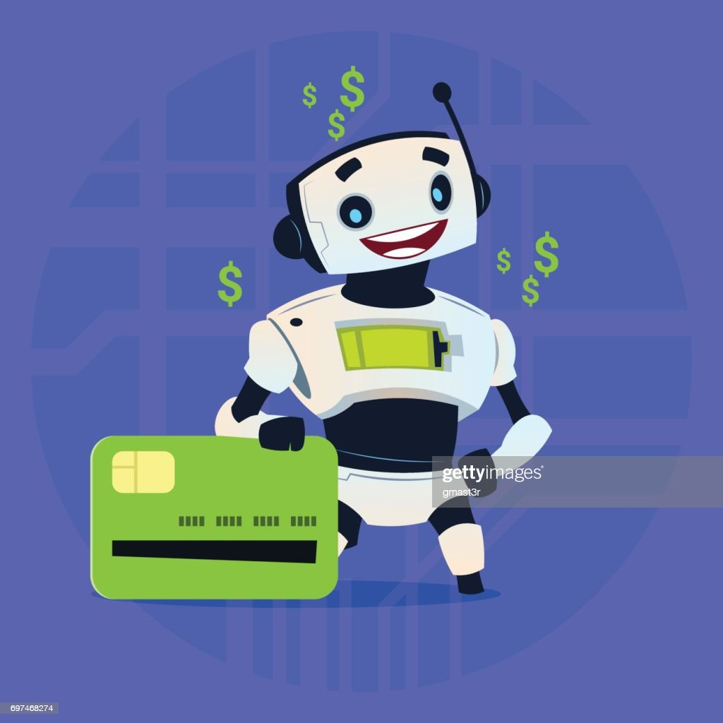 Cute Robot Hold Credit Card Mobile Payment Online Shopping Modern Artificial Intelligence Technology Concept