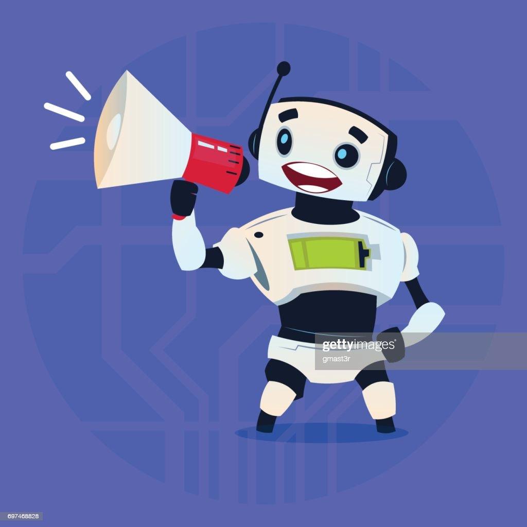 Cute Robot Holding Megaphone Digital Marketing Modern Artificial Intelligence Technology Concept