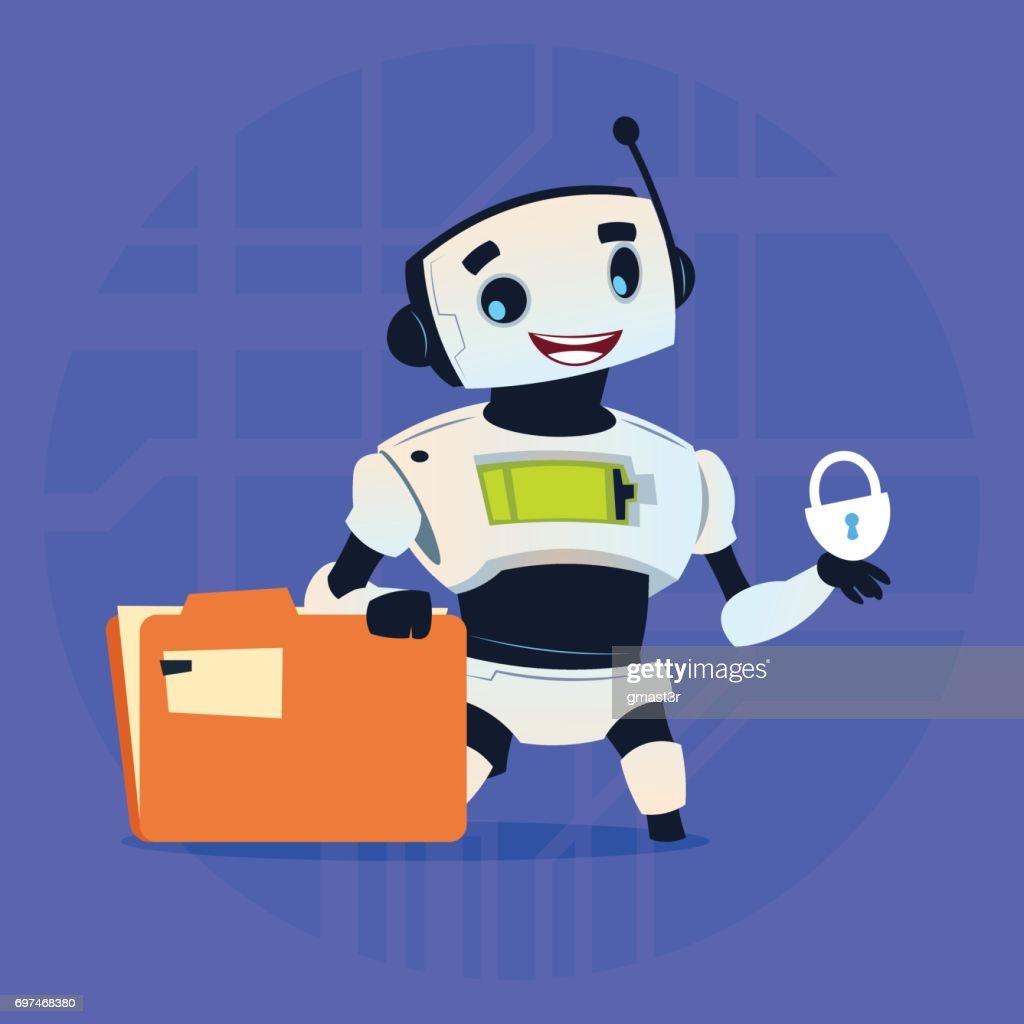 Cute Robot Protect Data Modern Artificial Intelligence Technology Concept