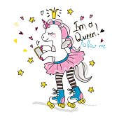 Cute roller skater unicorn with phone. Vector doodle graphic. Illustration for fashion design
