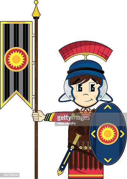 Cute Roman Soldier with Banner
