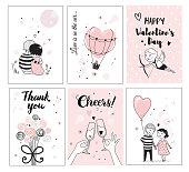 Cute romantic card set
