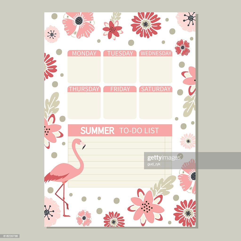 Cute romantic vector page with flamingo and flowers. : Vectorkunst