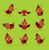 Cute Rooster 3D Cartoon Character Poses