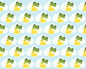 Cute royal duck and frog umbrella pattern.