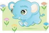 cute running babyelephant
