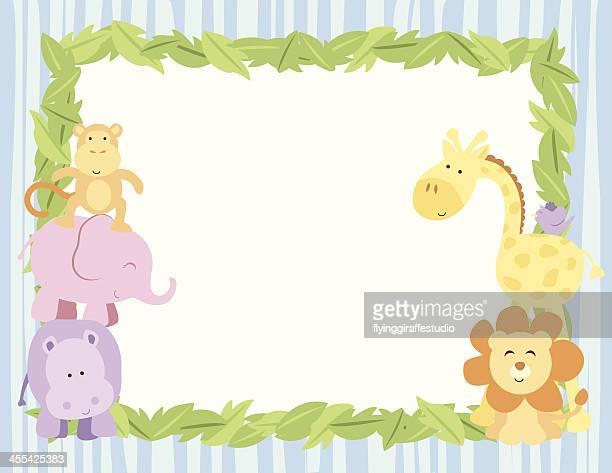 Cute Safari Animals Card With Leaves Border