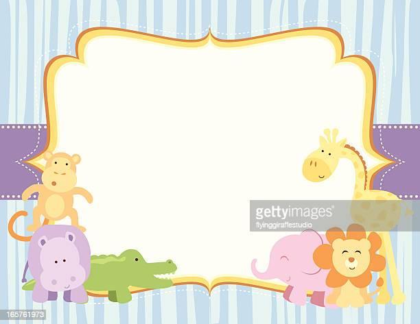 ilustrações de stock, clip art, desenhos animados e ícones de cute safari animais moldura - chadebebe