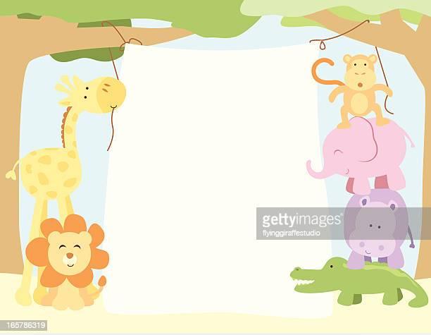 ilustrações de stock, clip art, desenhos animados e ícones de cute safari animais pendurado um banner - chadebebe