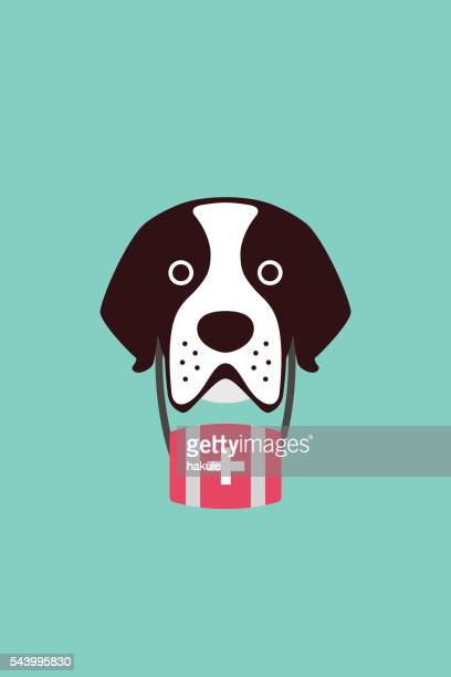 cute saint bernard dog, vector illustration - pet equipment stock illustrations, clip art, cartoons, & icons