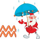 Cute Santa Claus. Astrological Sign in the Zodiac Aquarius