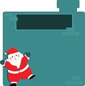 Cute santa claus at empty board vector