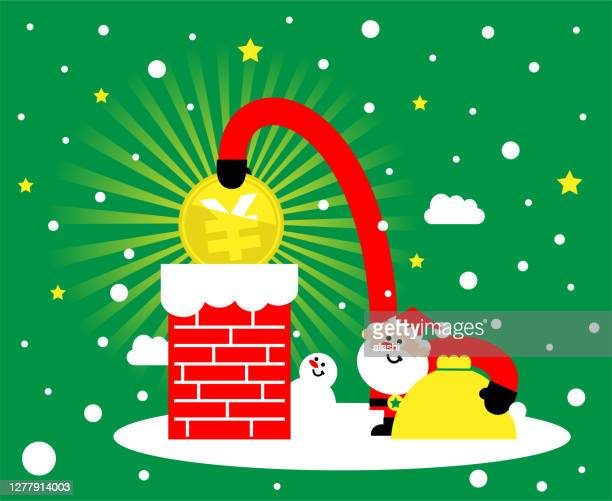 cute santa claus is putting yuan or yen sign coin (chinese, taiwanese or japanese currency) into the chimney; merry christmas and new year greeting card - christmas cash stock illustrations