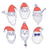 Cute Santa Clauses vector set.