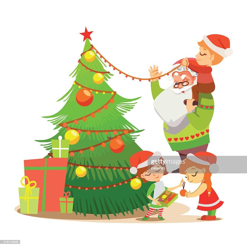 Cute santa decorating christmas tree with sweet elves.