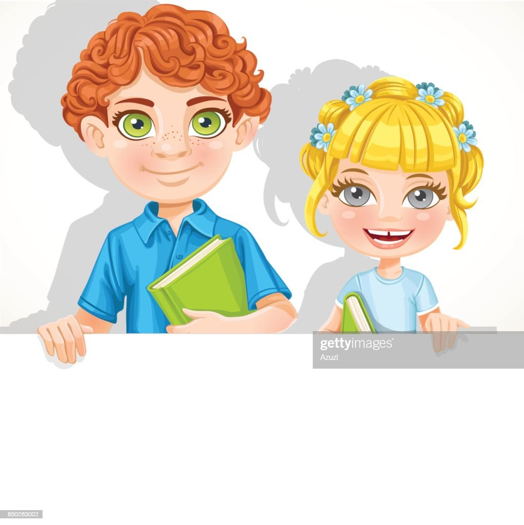 Cute school boy and girl with book hold big banner