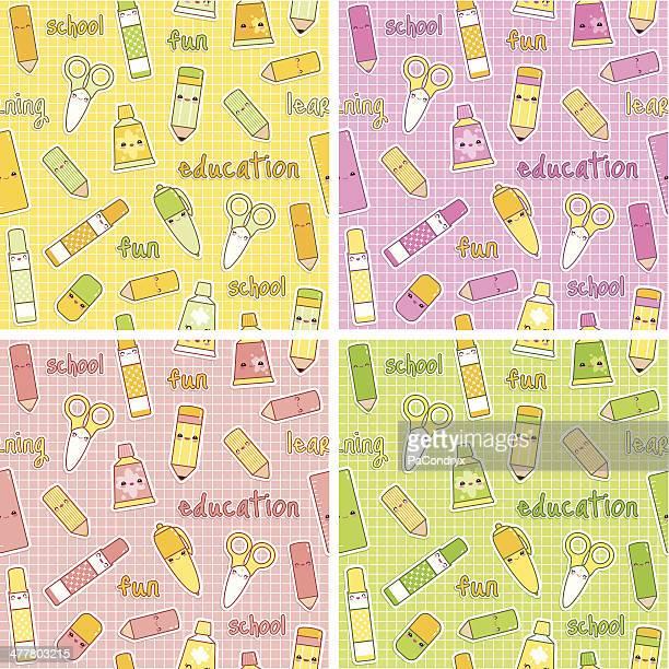 illustrations, cliparts, dessins animés et icônes de adorable ensemble de 4 motifs de fournitures scolaires - première rentrée scolaire
