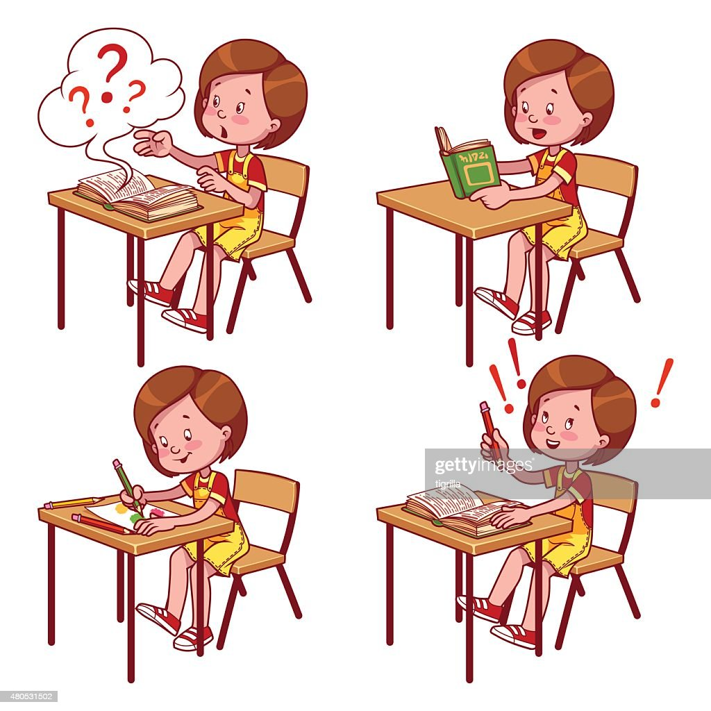 Cute schoolgirl behind a school desk : Vector Art