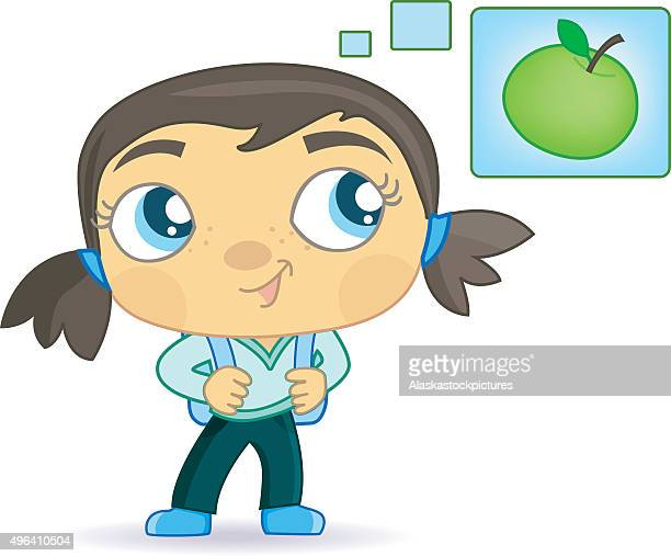cute schoolgirl with applethoughts. - lunch break stock illustrations, clip art, cartoons, & icons