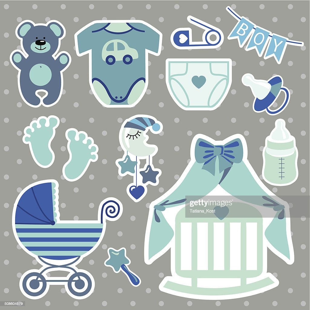 Cute scrapbooking elements for newborn baby boy : Vector Art