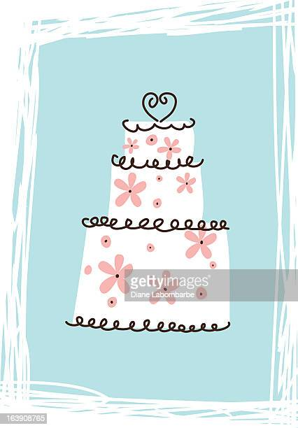 cute scribbled wedding cake icon - wedding cake stock illustrations