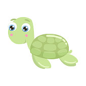 Cute sea turtle vector illustration.